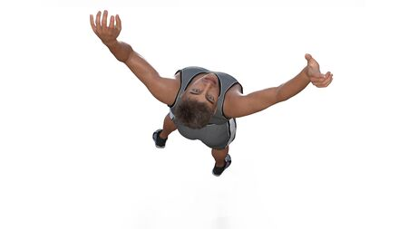 Athlete jump on white