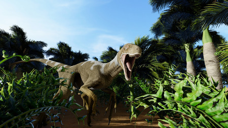 The image of a predatory dinosaur 3D illustration