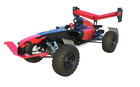 The image of monster race car 3D illustration