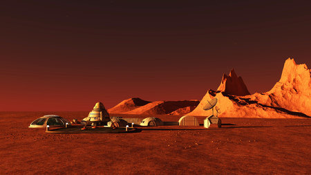The image of Mars base 3D illustration