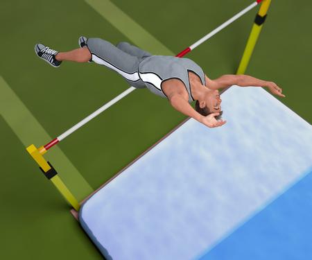 Image jump athlete 3D illustration
