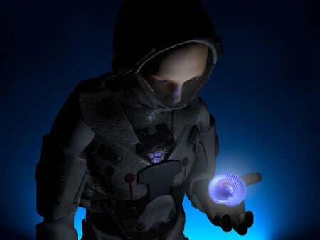 Image of an astronaut and an alien object Stock Photo