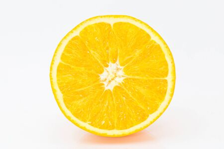 Juicy orange on a white background. Isolate.