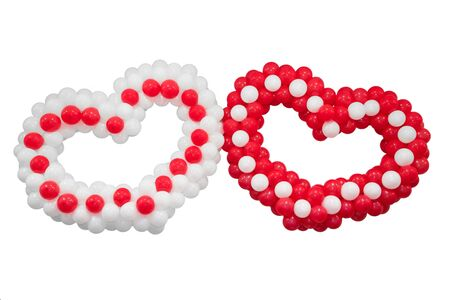 amorousness: Two hearts on white background, Valentines day. Isolate.