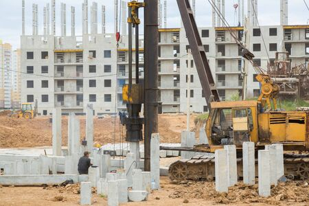 Piling machine working on a construction site