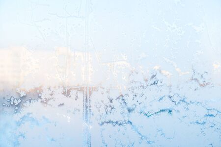windows frame: Ice pattern on the frosty window. Beautiful winter background.