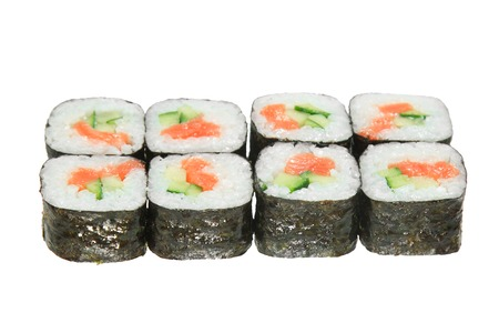 Sushi roll with salmon and cucumber. Isolated on white background. Appetizing Japanese dish. Stock Photo
