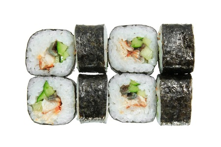 Sushi rolls with eel and cucumber. Isolated on white background. Tasty Japanese dish.