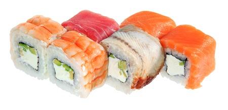 Set of tasty sushi rolls. Isolated on white background. Menu of the Japanese restaurant.