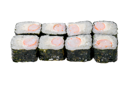 Sushi roll with shrimps and cheese. Isolated on white background. Traditional Japanese dish.