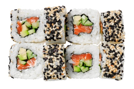 Sushi roll with salmon, cucumber, sesame and avocado. Isolated on white background. Traditional Japanese dish. Stockfoto