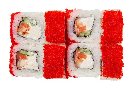 Sushi roll with eel, cheese, caviar tobiko and cucumber. Isolated on white background. Japanese cuisine.