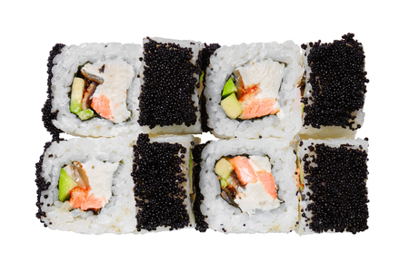 Sushi rolls with salmon, eel, cheese, avocado and black tobiko caviar. Isolated on white background. Japanese dish. Banque d'images - 125394241