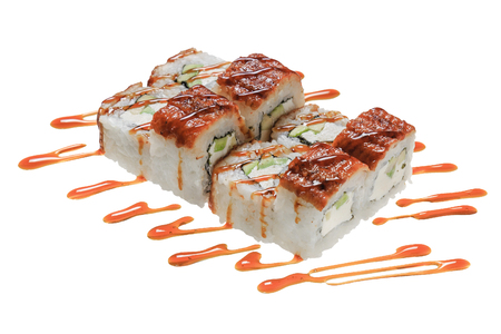 Sushi rolls with sea eel, cheese philadelphia, avocado and sauce. Isolated on white background. Japanese cuisine.