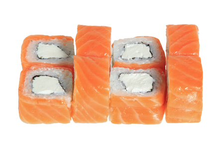 Sushi rolls with salmon and cheese philadelphia. Isolated on white background. Japanese cuisine. Banque d'images - 125394253