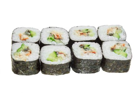 Sushi rolls with eel and cucumber. Isolated on white background. Tasty Japanese dish. Banque d'images - 130710868