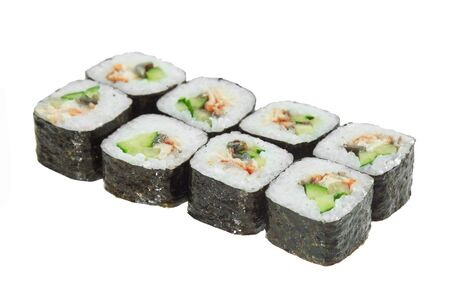 Sushi rolls with eel and cucumber. Isolated on white background. Tasty Japanese dish. Banque d'images - 130710870