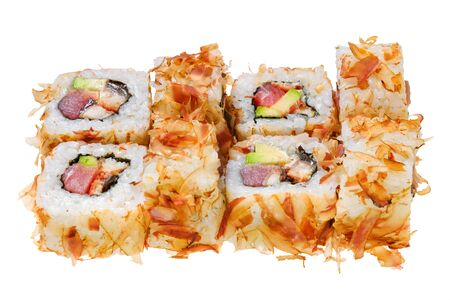 Sushi roll with raw fish, avocado and shavings tuna. Isolated on white background. Japanese cuisine. Banque d'images - 130710876