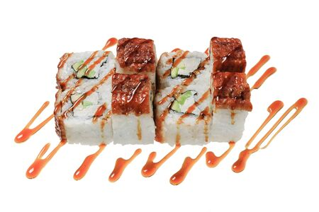 Sushi rolls with sea eel, cheese philadelphia, avocado and sauce. Isolated on white background. Japanese cuisine. Banque d'images - 130710877