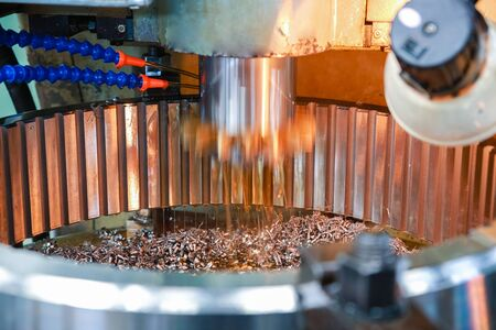 Processing of metal parts on the machine. Heavy industry