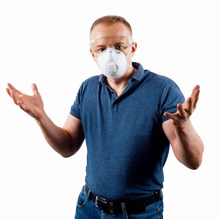 Man in a protective mask isolated on a white background. Human in confused. Stockfoto