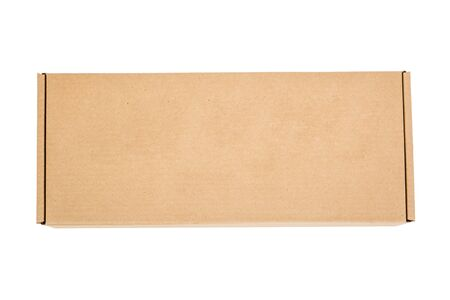 Cardboard box is isolated on a white background. Reliable packaging of the goods.