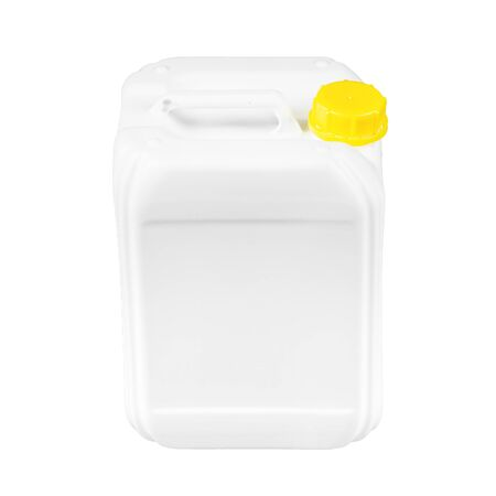 Plastic canister with yellow lid. Isolated on a white background.