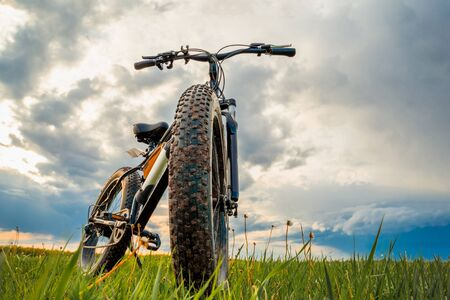 A Bicycle with thick wheels and an electric motor on a green meadow against a beautiful sky. Fatbike.