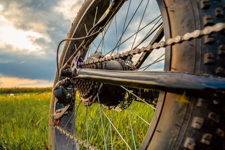 Wheel of an electric bicycle close-up. Fatbike against a beautiful sky.