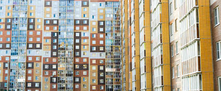 Modern construction in Russia. Multi-storey residential building. Background. Stockfoto