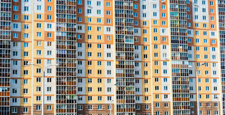 Modern apartment building in Russia. Background, texture. Stockfoto