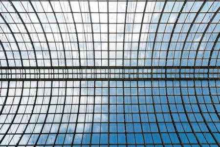 Transparent roof of the building made of glass and metal. Background. Stockfoto