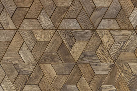 Handmade wooden panel with beautiful geometric pattern. Background. Stockfoto