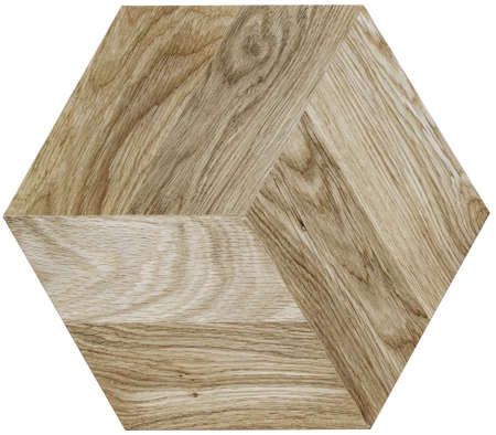 Hexagonal wood panel for interior decoration. Stockfoto