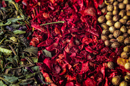 Various colourful spices close up macro background