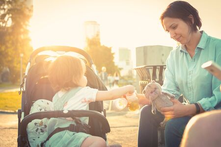 Young mother feeds the child little girl in baby carriage in summer 写真素材