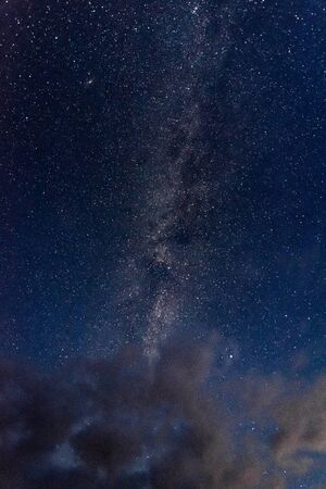 View of the milky way galaxy in the blue sky above the clouds