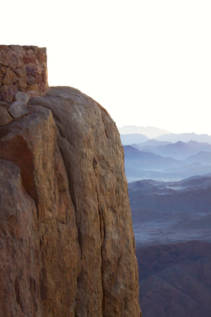 The mountain of Moses in the morning light. Landscape from the top