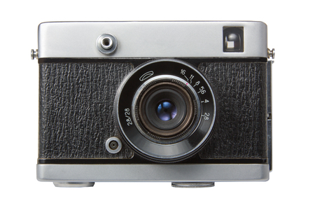 Alte Filmkamera. Isoliert auf weißem Hintergrund Nahaufnahme Standard-Bild