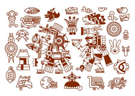 vector illustratie schets tekening Azteekse cacaoboon, bladeren, punten, patroon collectie voor chocolade pakket ontwerp op bruine kleur in witte achtergrond