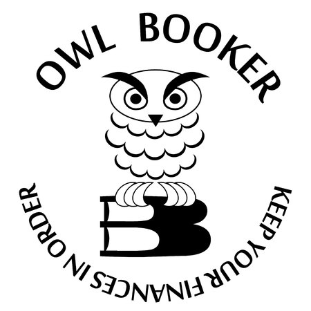animal private: vector illustration icon with owl sitting in books on white background Illustration