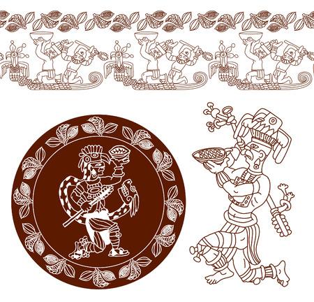 vector illustratie schetstekening contour patroon maya, aztec en cacaobonen op bruine kleur Stock Illustratie