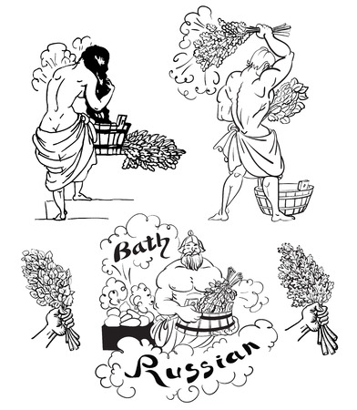 bath house: vector illustration sketch drawing icons and scenes to man and woman russian bath house with birch and oak brooms Illustration