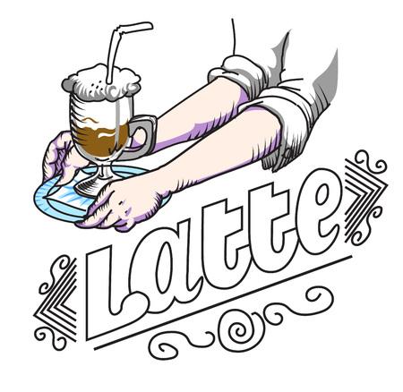 latte: vector illustration coffee latte in vintage style on white background Illustration