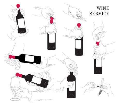 wine servis instruction of the opening wine with a knife-opener