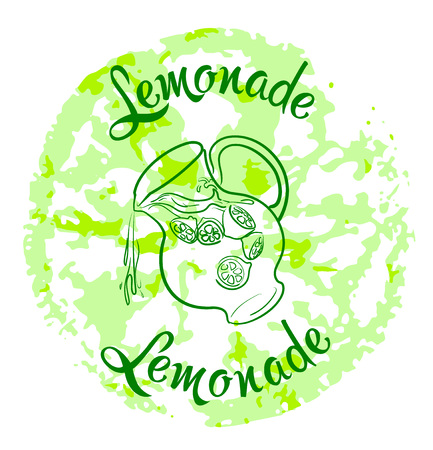 decanter: vector illustration sketch drawing lemonade  with text, lemon print and decanter with fresh lemonade on white background
