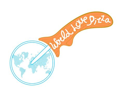 pizza cutter: vector illustration isolation pizza cutter with world map painted on the blade and the text on the wooden handle Illustration
