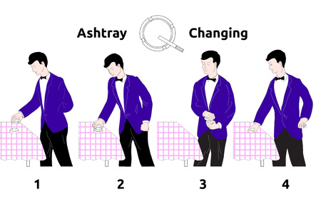 carcinogen: stylized illustration of how to replace the ashtrays in the restaurant with a waiter in a blue jacket with checkered table cloth, the text on a white background