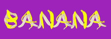 peel: vector illustration banana peel letters on violet background Illustration