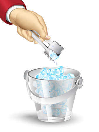 ice tongs: vector illustration with a bucket of ice, a hand holding a tongs ice with a piece of ice on a white background